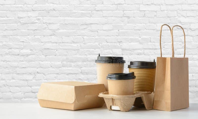 快餐和饮料包装的集合 库存图片