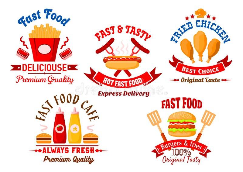 快餐咖啡馆和格栅餐馆减速火箭的徽章 库存例证