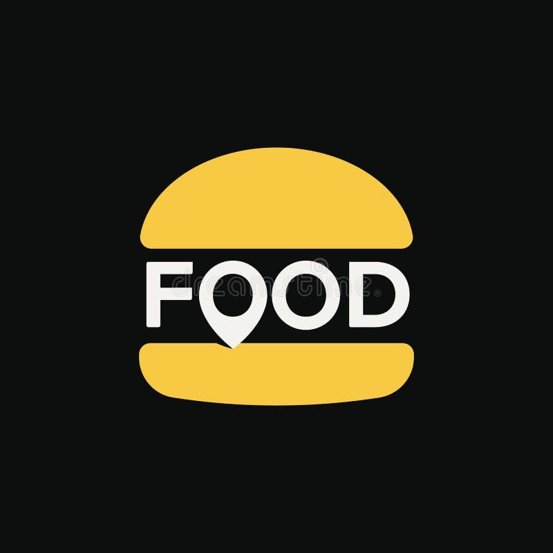 快餐地点商标,最小的风格化汉堡象,抽象别针标志,在黑背景的传染媒介例证 皇族释放例证