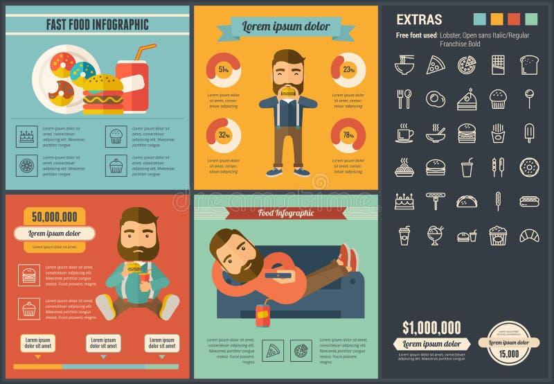 快餐平的设计Infographic模板 库存例证