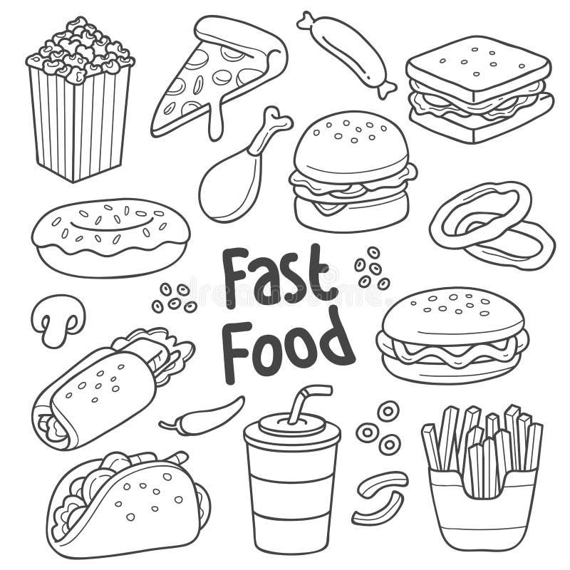 快餐手拉的图画 向量例证