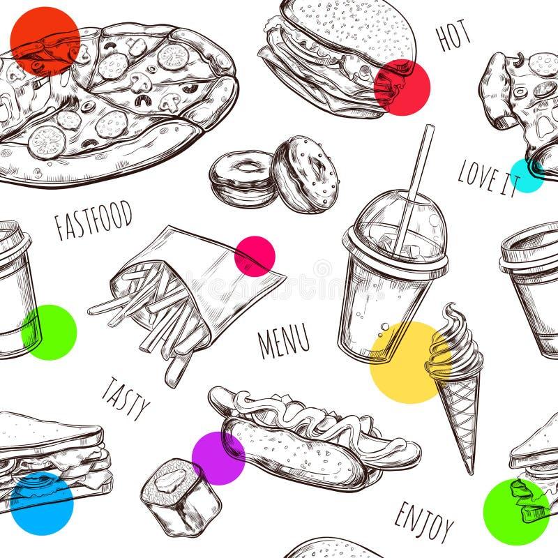 快餐无缝的样式 手拉的被隔绝的传染媒介对象 汉堡包,薄饼,热狗,乳酪汉堡,咖啡,冰 库存例证