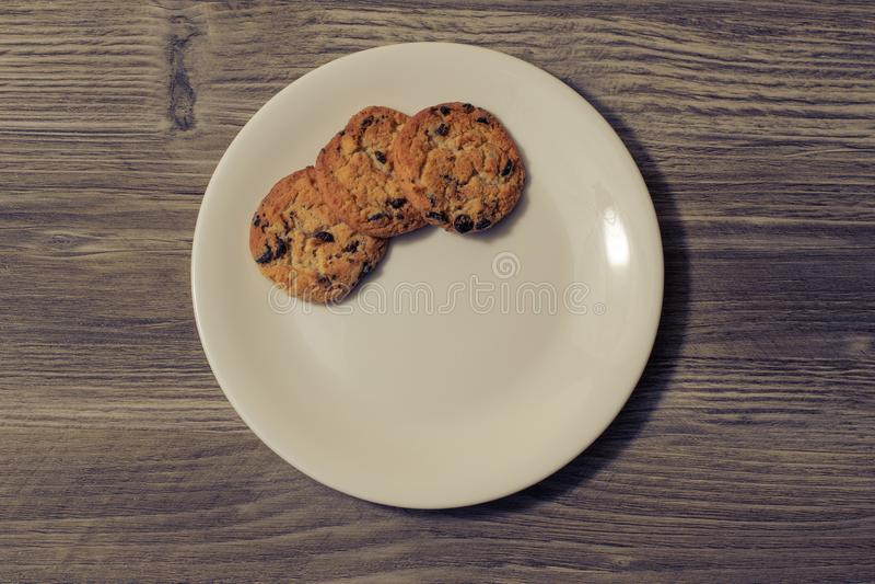 快餐早餐陶器三曲奇饼巧克力xmas圣诞节假日自创国内鲜美烹调烹饪厨师烘烤面包店 免版税库存照片