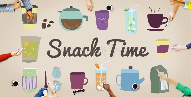 快餐时间芯片薄脆饼干油炸马铃薯片嘎吱咬嚼的油煎的概念 库存例证
