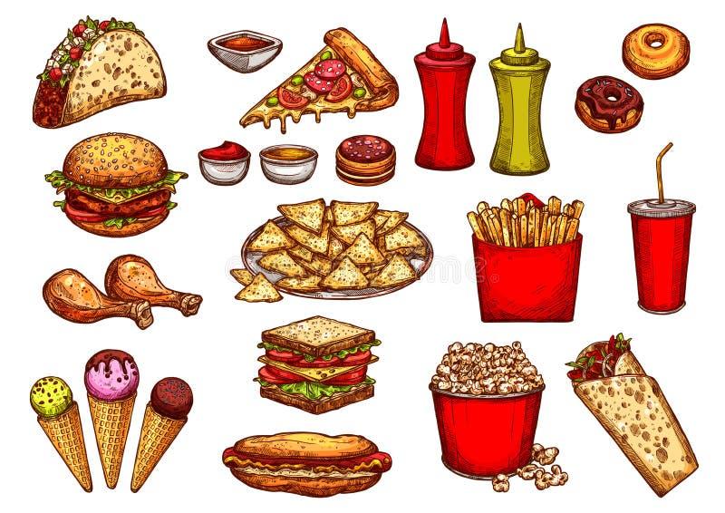 快餐汉堡、饮料和点心剪影集合 皇族释放例证