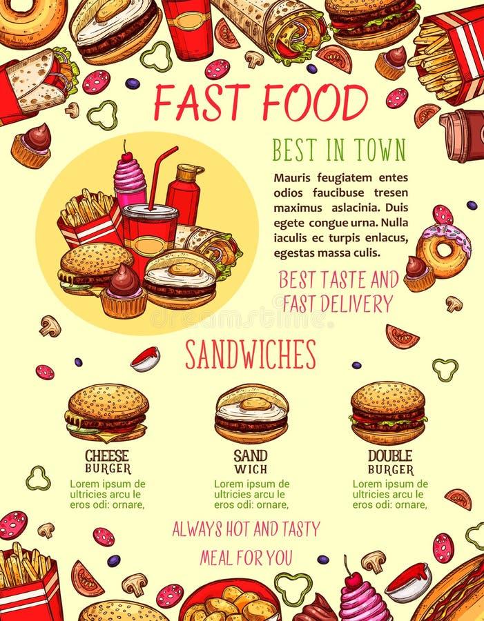 快餐汉堡和三明治菜单横幅模板 向量例证