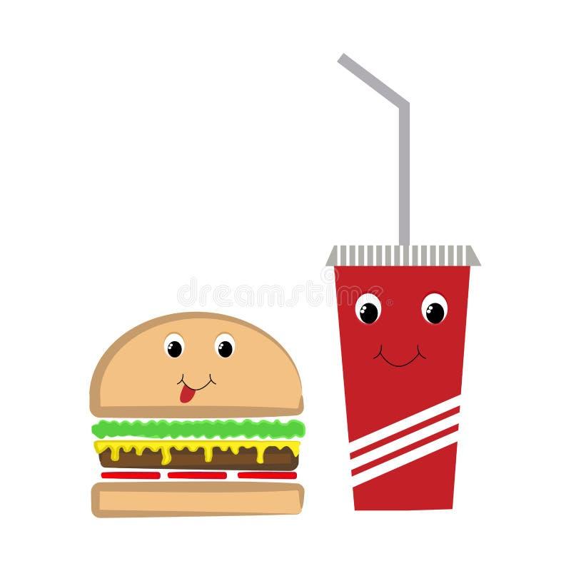 快餐汉堡和饮料与面孔 库存例证