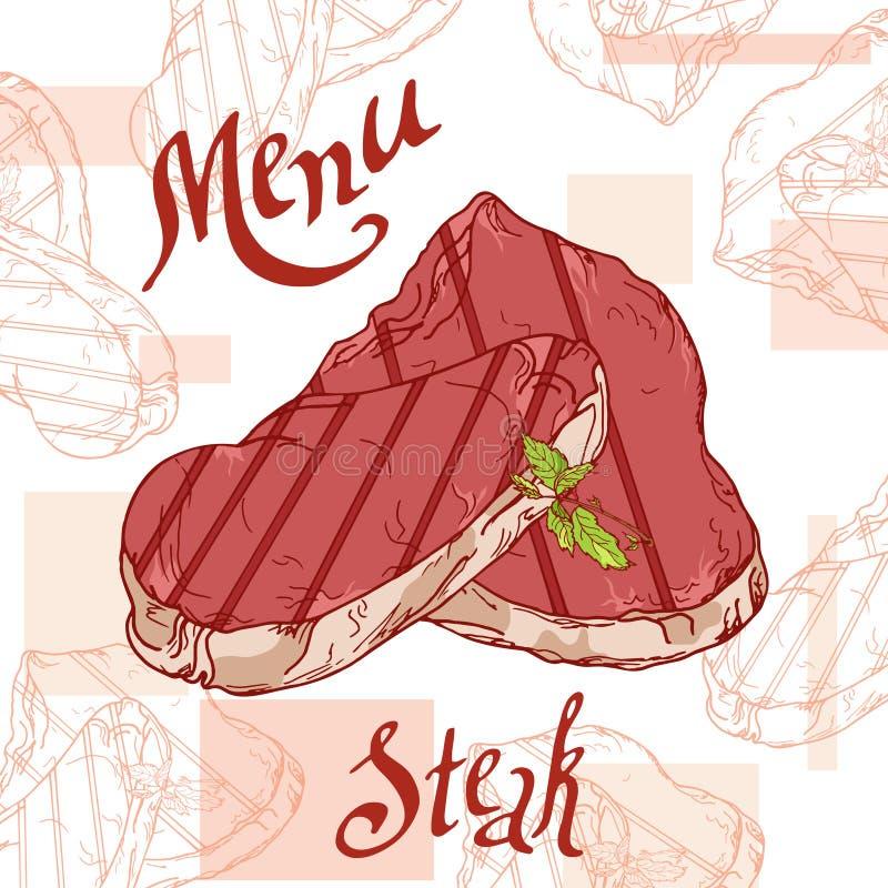 快餐海报用牛排 手凹道减速火箭的例证 葡萄酒汉堡设计 模板 皇族释放例证
