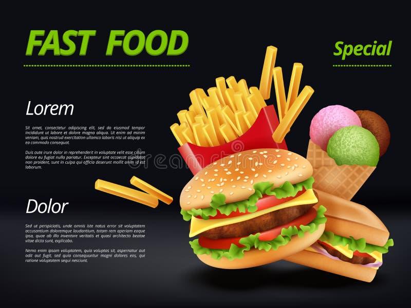 快餐海报 汉堡成份发牢骚蕃茄乳酪三明治膳食减速火箭的广告招贴传染媒介模板 库存例证