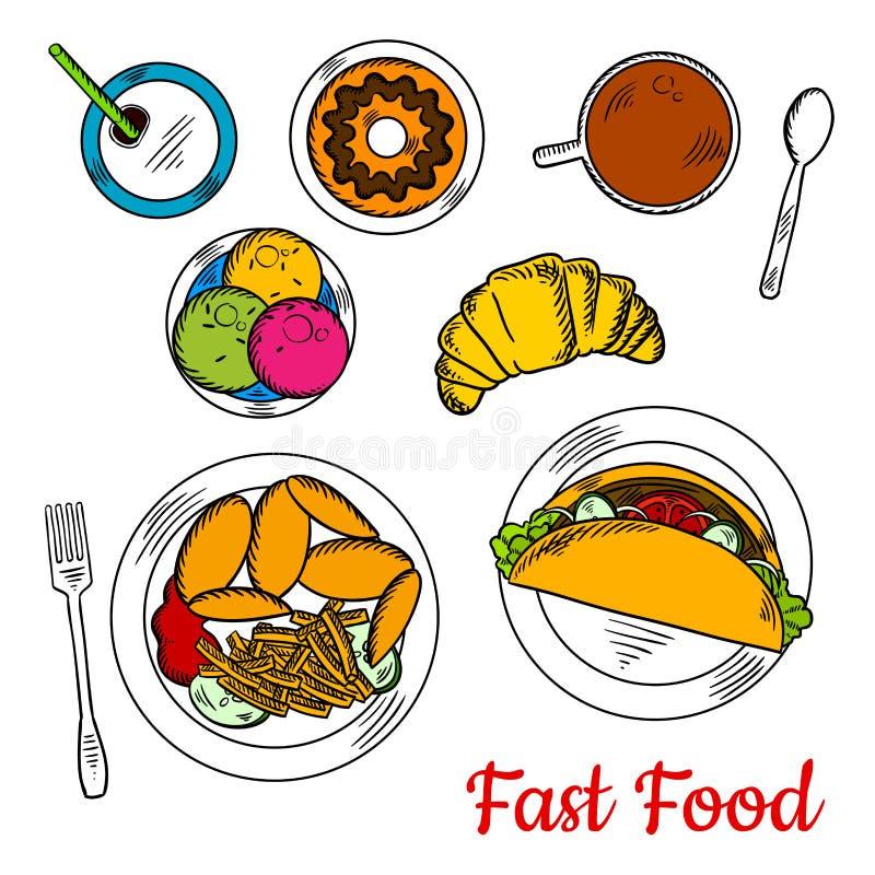 快餐菜单普遍的概略盘午餐的 库存例证