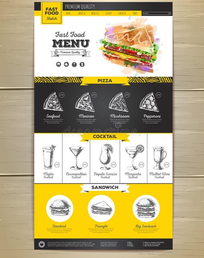 快餐菜单概念网站设计 向量例证