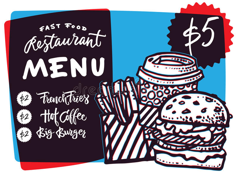 快餐菜单设计和快餐手拉的传染媒介例证 餐馆或咖啡馆与汉堡剪影的菜单模板 皇族释放例证