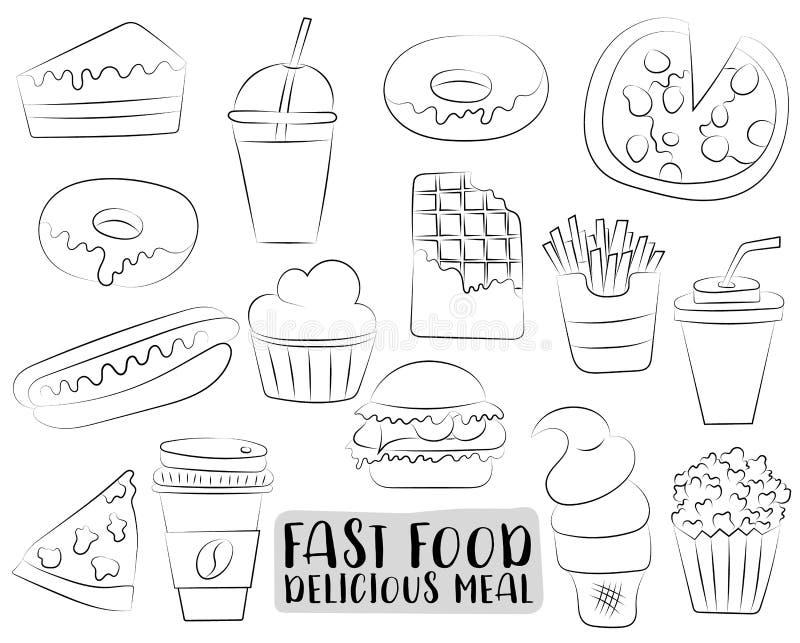 快餐被设置的动画片象和对象 黑白着色页哄骗比赛 拉长的现有量 向量例证