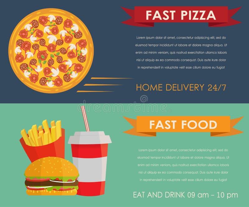 快餐被设置的概念横幅 库存例证