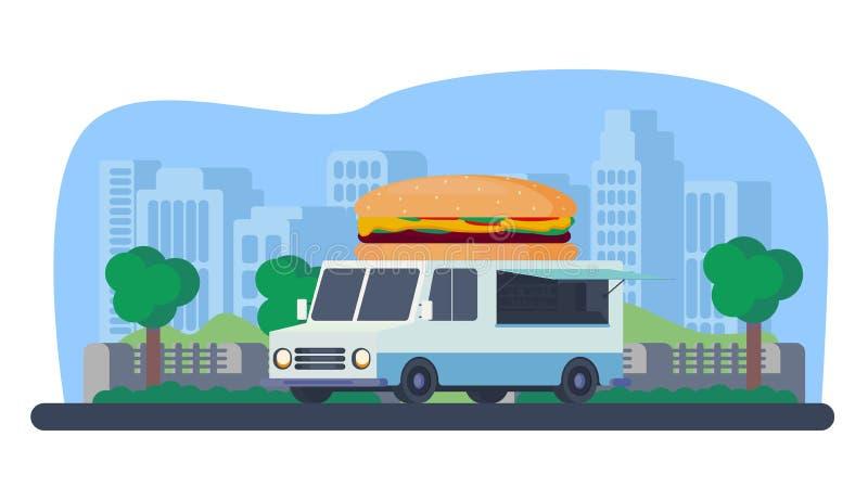 快餐销售的流动商店 汉堡卡车在公园 皇族释放例证