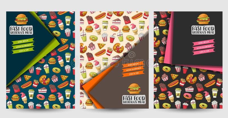 快餐飞行物集合 杂志广告页的海报模板,菜单,盖子 小册子设计观念 库存例证