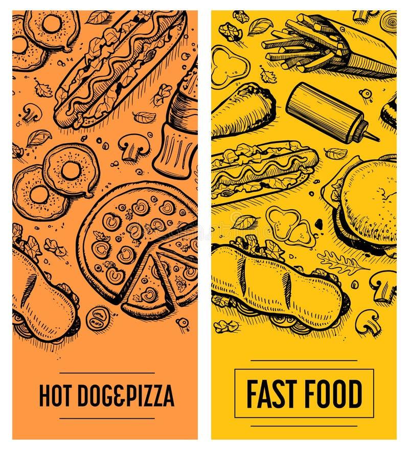 快餐餐馆菜单卡片模板集合 向量例证