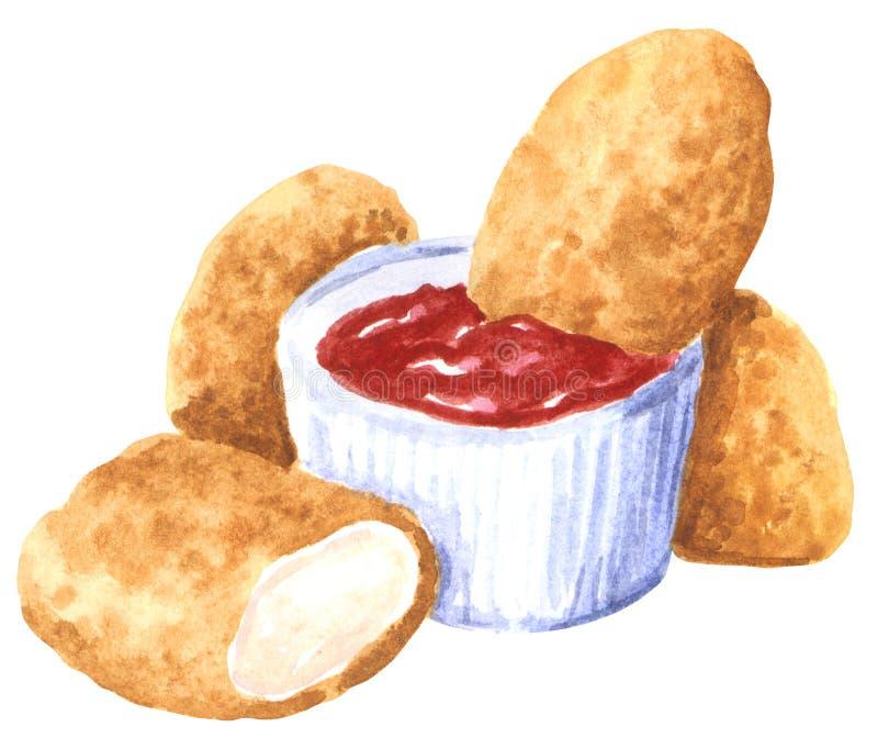 快餐,与蕃茄sause,手拉的水彩的鸡块 库存例证