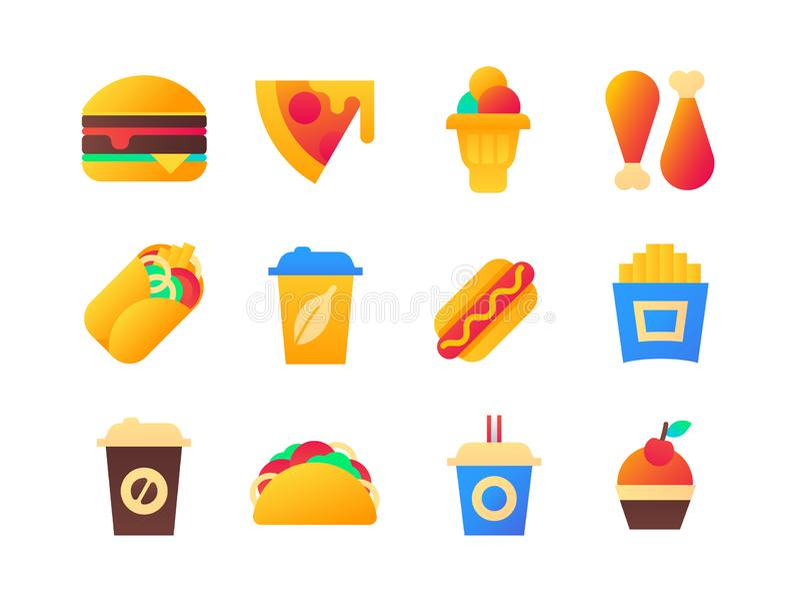 快餐-套平的设计样式象 库存例证