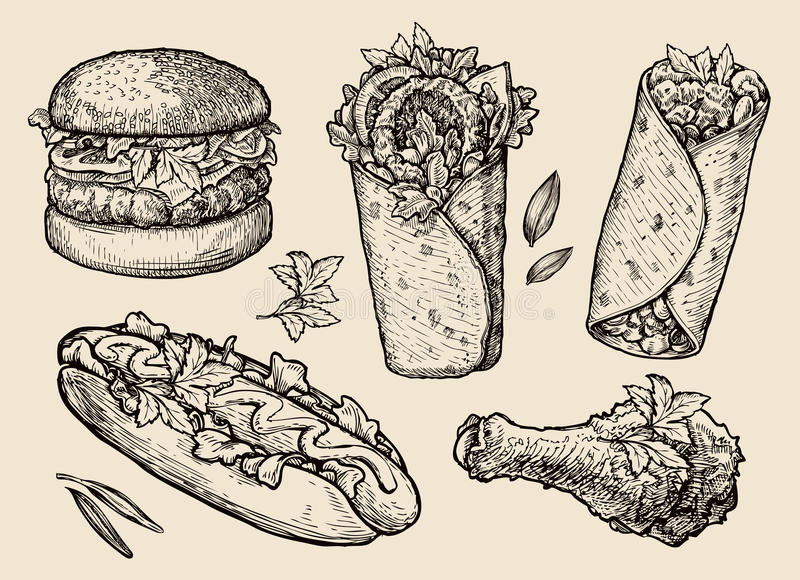 快餐 手拉的汉堡包,汉堡,薄饼,三明治,鸡腿,热狗,面卷饼, shawarma,电罗经,皮塔饼面包 皇族释放例证
