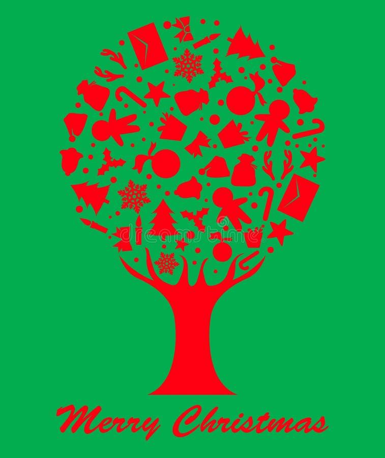 快活的圣诞节树 库存例证