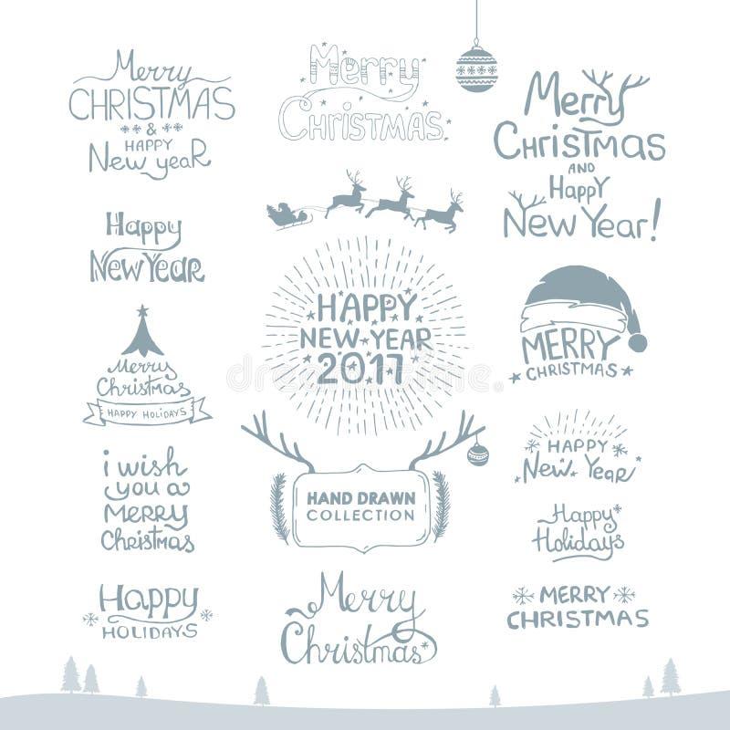 快活的圣诞节 新年快乐, 2017年 印刷术集合 传染媒介商标,象征,文本设计 能用为横幅,招呼 向量例证