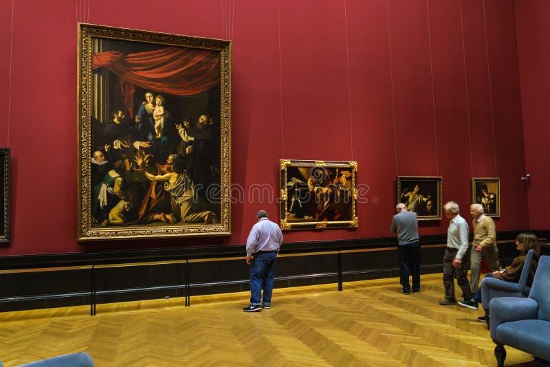 念珠1606/07的Caravaggio玛丹娜在Kunsthistorisches 免版税库存图片