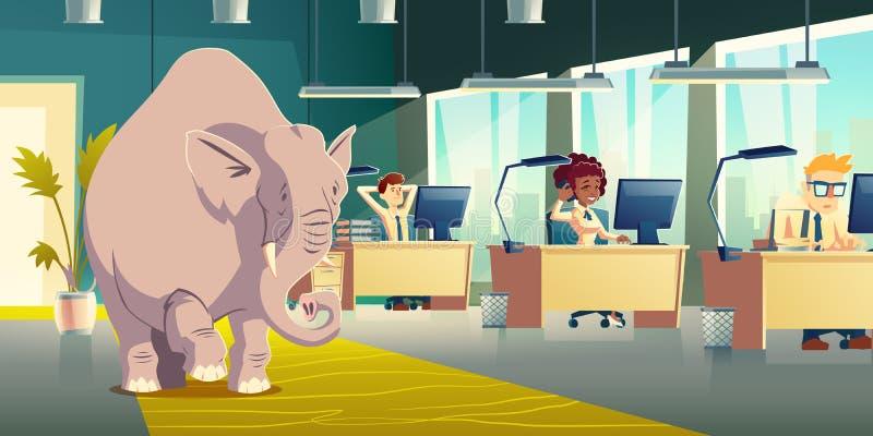 忽略房间纸箱中的大象矢量概念 库存例证