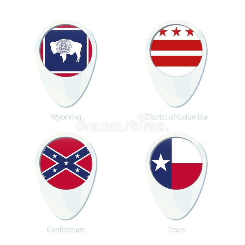 怀俄明,哥伦比亚特区,同盟,得克萨斯旗子定位图别针象 向量例证