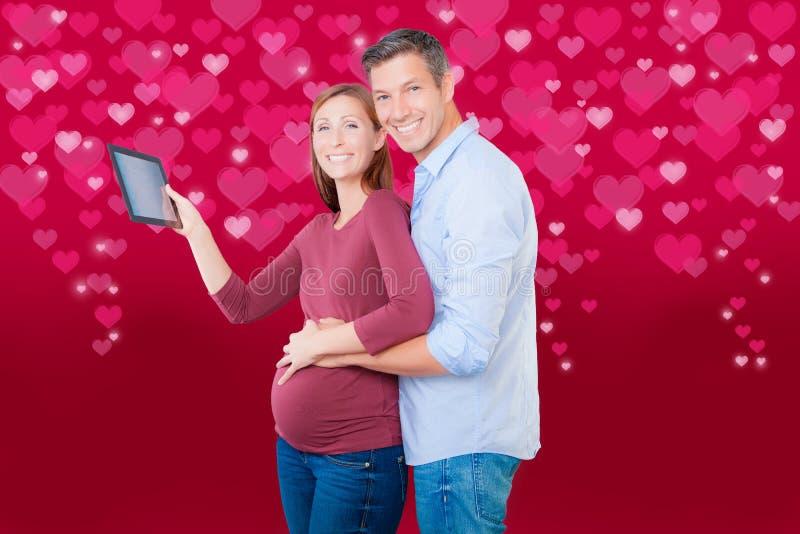 怀孕华伦泰的买家 免版税库存图片