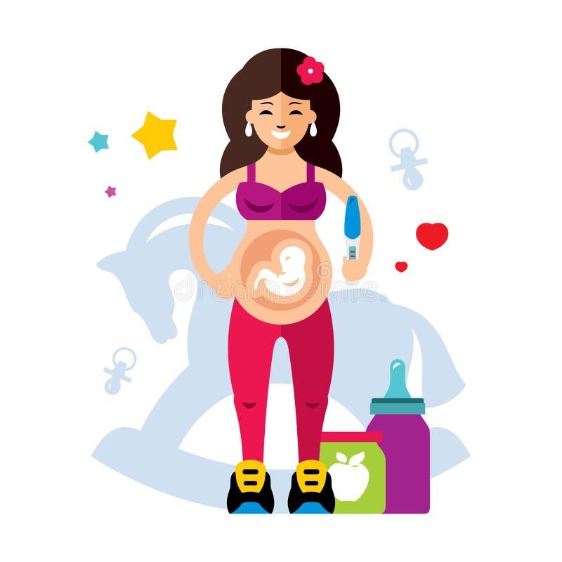 怀孕和妇女 平的样式五颜六色的传染媒介动画片例证 向量例证