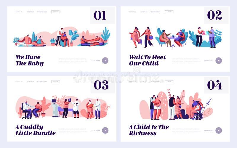 怀孕和家庭等待的婴孩网站着陆页模板集合 愉快的夫妇准备成为的父母,拜访医生 皇族释放例证