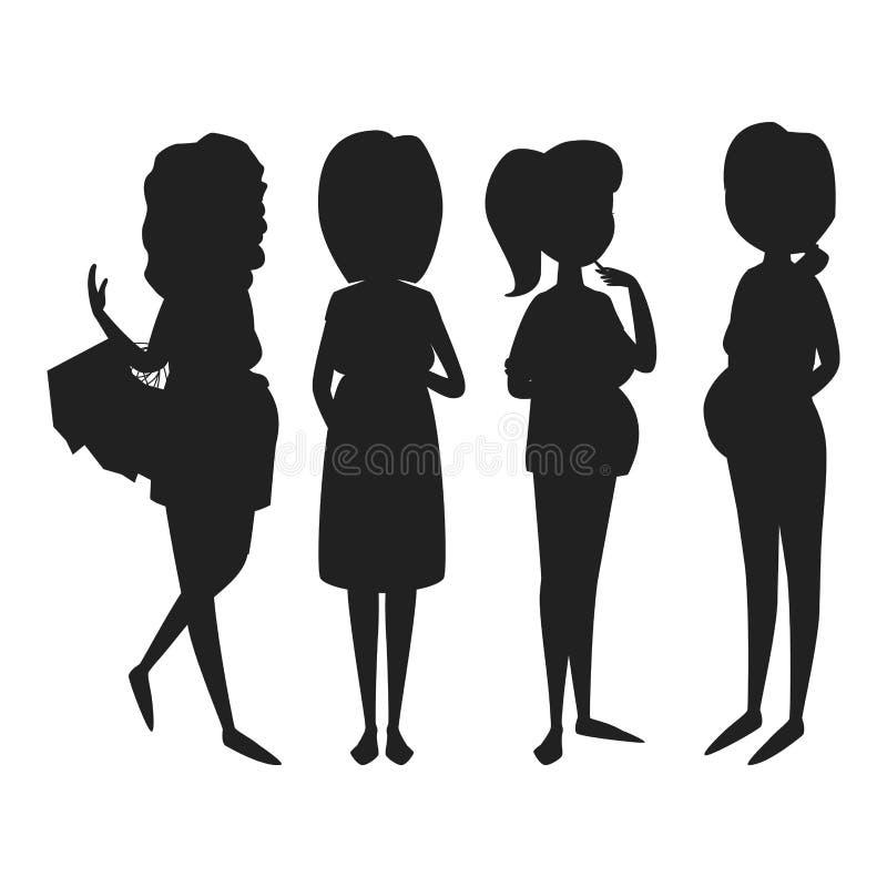 怀孕母性人期望黑色剪影孕妇与大腹部传染媒介的字符生活 库存例证
