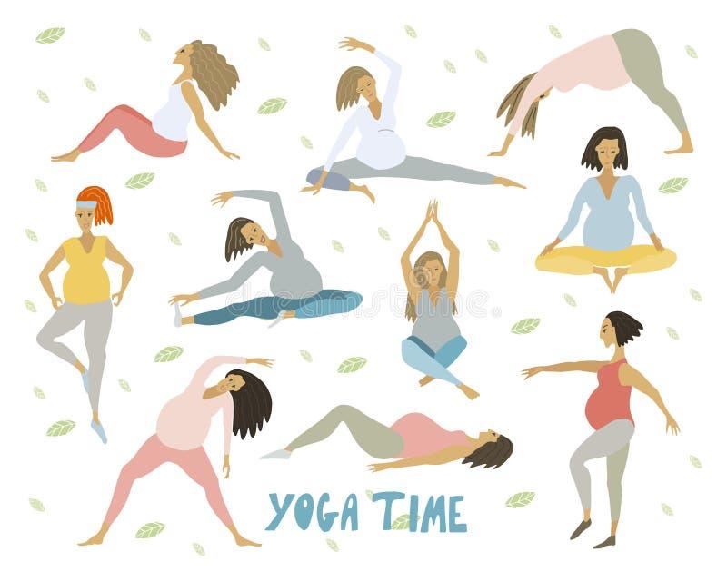 怀孕的健康妇女的瑜伽有做瑜伽用不同的姿势的腹部的被设置 皇族释放例证