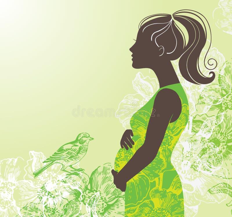 怀孕的剪影妇女 向量例证