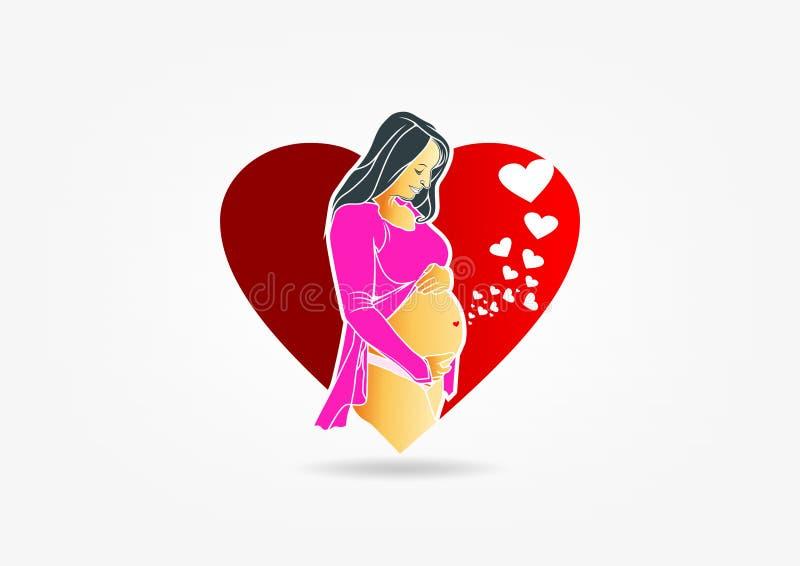 怀孕的商标设计 库存例证