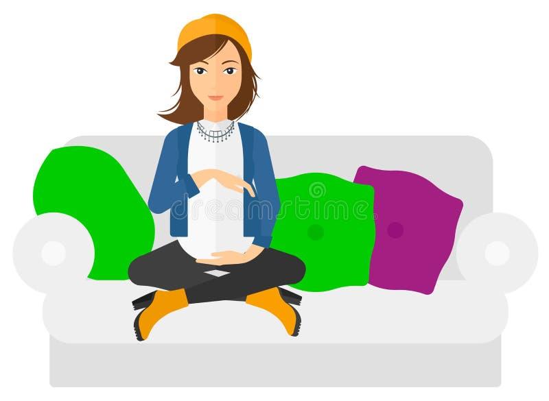 怀孕的坐的沙发妇女 库存例证