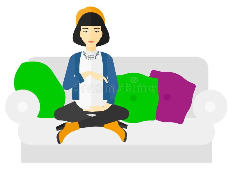 怀孕的坐的沙发妇女 向量例证