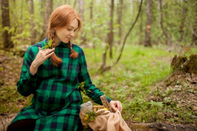 怀孕的女孩在野餐的森林 免版税库存照片
