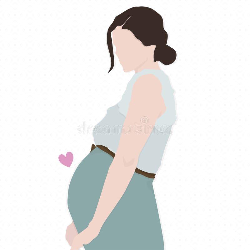 怀孕的女孩 向量例证