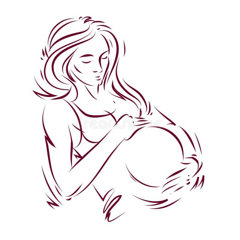 怀孕的女性身体形状手拉的传染媒介例证,轻轻地接触她的腹部的美丽的夫人 库存例证