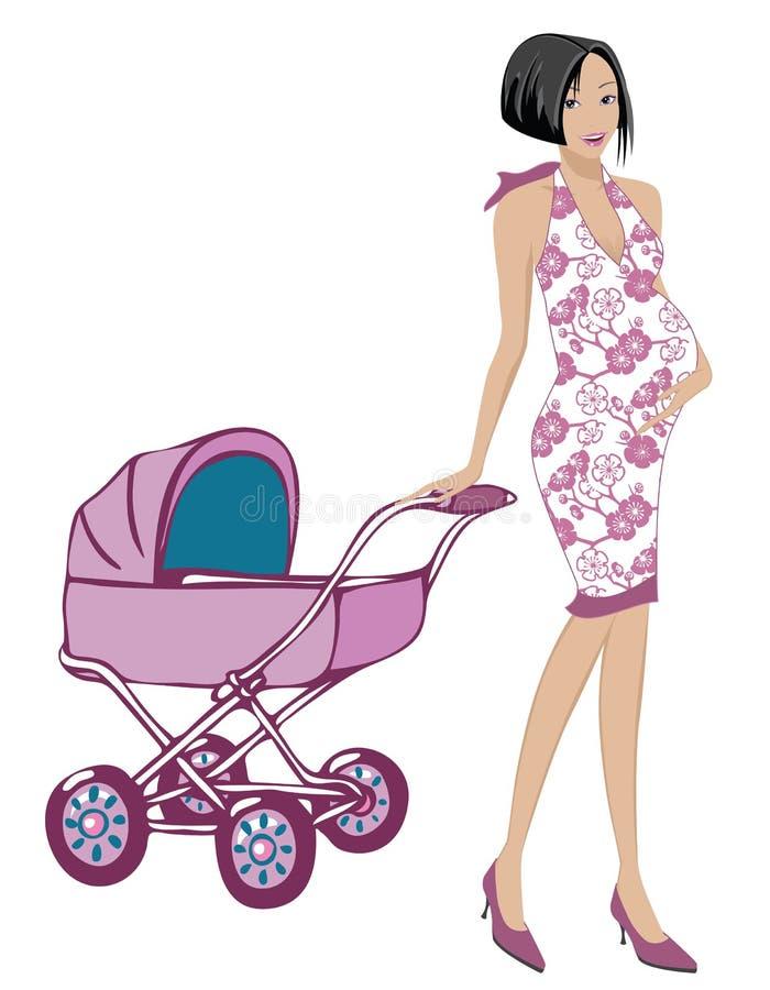 怀孕的妈妈 库存例证
