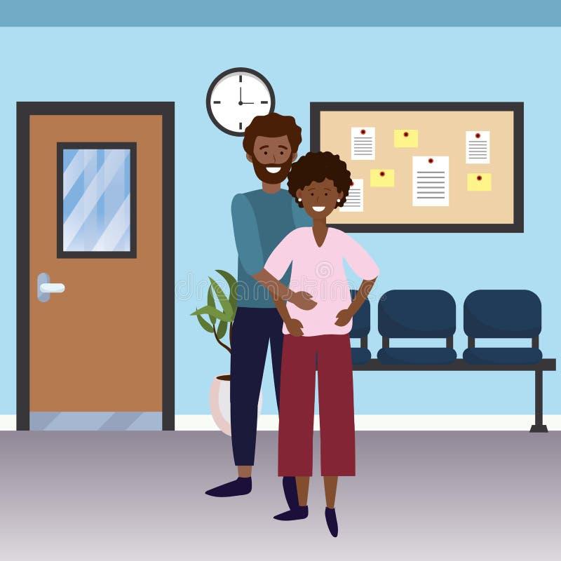 怀孕的家庭动画片 向量例证