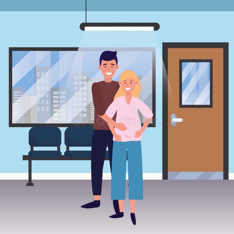 怀孕的家庭动画片 库存例证