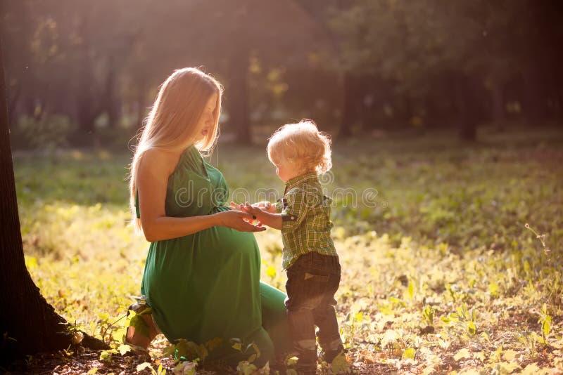 怀孕的母亲和她的小儿子在日落的公园 库存图片