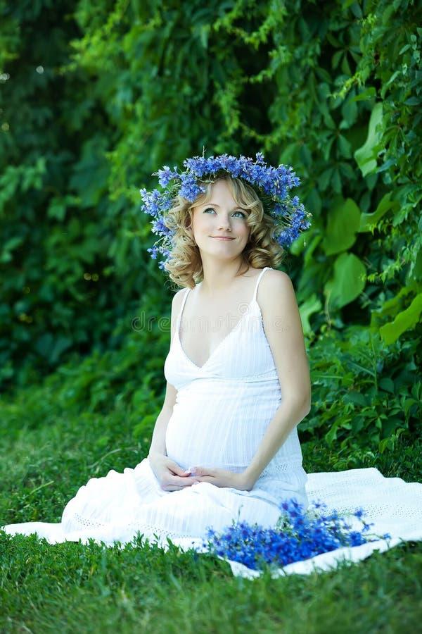 怀孕的白种人妇女 库存图片