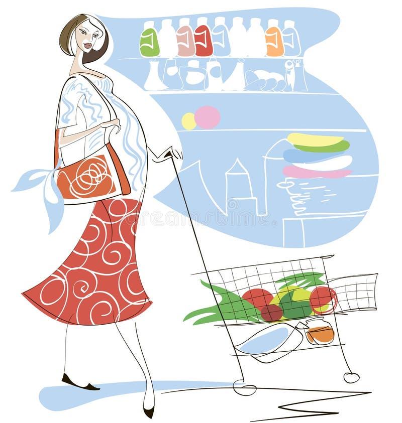 怀孕的超级市场妇女 向量例证