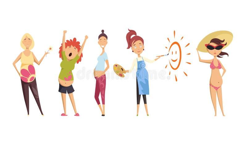 怀孕的集妇女 许多看法怀孕 愉快的微笑,锻炼,绘画,泳装 被隔绝的传染媒介例证 库存例证