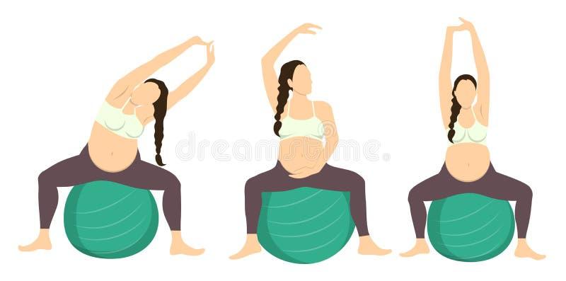 怀孕的锻炼 向量例证