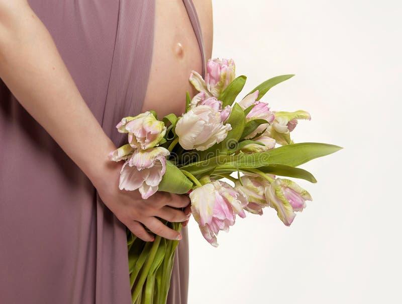怀孕 孕妇的被暴露的腹部和手 下雨 郁金香 免版税库存照片